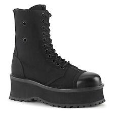 Demonia Gravedigger-10 Black Canvas Platform Unisex Boots - Gothic,Goth