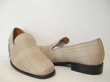 Harlem Knights Mens 5560 Plaid Slip On Casual Shoes Choc Brn/ Tan Sizes 9 or 8 M