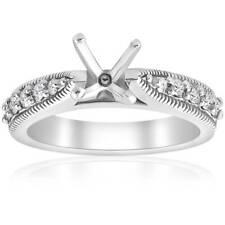 Diamond Engagement Ring Setting 14k White Gold Vintage Semi Mounting Antique