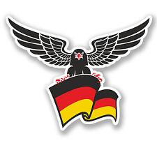 2 x GERMAN EAGLE CREST ADESIVO AUTO MOTO IPAD NOTEBOOK CASCO Chitarra Bandiera # 4165