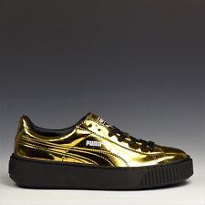 Puma PALLACANESTRO Piattaforma METALLIZZATO scarpe donna LACCA sneakers oro