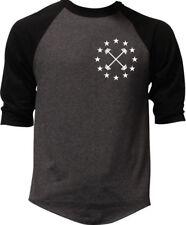 Men's Barbell Star Emblem Charcoal Baseball Raglan T-Shirt Workout Fitness V397