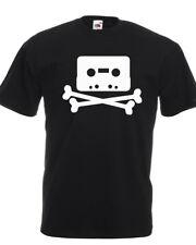T-shirt TAPE SKULL BONES musicassetta anni 90 teschio vintage rock bianca nera