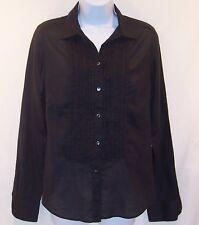 Calvin Klein Womens Juniors Black Long Sleeve Blouse Top Cotton Shirt M