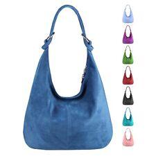Italy Ladies Real Leather Handbag Suede Shopper Shoulder Bag Hobo Bag