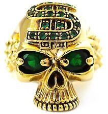 DOLLAR SKULL GREEN EMERALD EYE GOLD BRASS RING PUNK ROCK BIKER JEWELRY