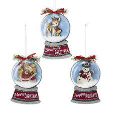 Kurt Adler Snow Globe Vintage Style Retro Christmas Ornament Decor Deer Santa