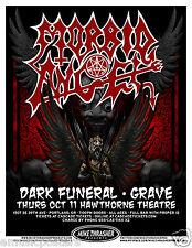 MORBID ANGEL/DARK FUNERAL/GRAVE 2012 PORTLAND CONCERT TOUR POSTER - Metal Music