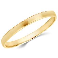 Solid 14K Yellow Gold 2mm Brush Finish Comfort Fit Men Women Wedding Band Ring