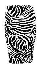 Women's Ladies Zebra Print Bodycon Pencil Midi Skirt