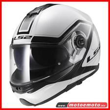 Casco Moto Ls2 Modulare Doppia Visiera FF325 Strobe Civik Bianco Nero