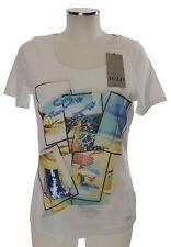 Tuzzi T-Shirt mit Strandmotiv weiß bunt 38 40 Viskose Pailletten neu mit Etikett