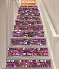 3D Purple Brick Wall Stair Risers Decals Mural Vinyl Sticker Staircase Art59