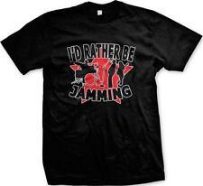 I'd Rather Be Jamming Band Music Artist Drummer Bass Guitarist Mens T-shirt