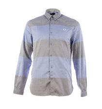 Fred Perry Men's Textured Stripe Long Sleeve Shirt - M7284-146 - Light Smoke
