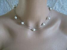 Collier Blanc/Ivoire/Gris/Argenté robe de Mariée/Mariage/Soirée perles pas cher