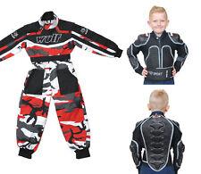 bambini WULFSPORT MX motocross quattro Tuta Intera Protezione Copertura Rosso