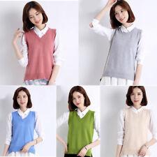 Womens Knit Cotton Sweater Vest Warm Pullover Knitwear Outwear sleeveless casual