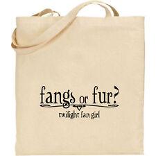 Colmillos o de piel-Twilight Bella Edward Cullen Jacob algodón natural bolso de compras