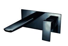 Black Matt Bathroom Tap Basin Bath Waste Tall Wall Mounted Rain Shower Valve New
