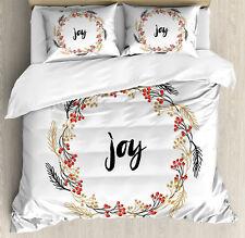 Joy Duvet Cover Set with Pillow Shams Wreaths Vintage Design Print