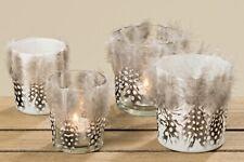 Windlicht Teelicht aus aus Glas mit Federn Osterdeko klar oder weiß 2er Set