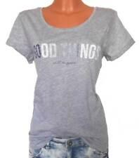 TOM TAILOR Damen Shirt grau meliert Stitching GR. XS S 32 34 36 38 NEU - 056