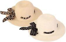 LADIES WOMENS WIDE BRIM SUMMER STRAW HAT WITH SCARF