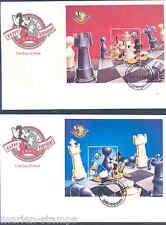 DISNEY AZERBAJIAN 1998 CHESS SET OF 2 SOUVENIR SHEETS ON FIRST DAY COVERS