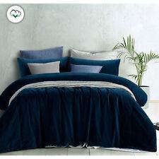 Riverland Blue Cotton Velvet Quilt Cover Set OR Eurocases QUEEN KING Super King