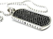 Men's 14K White Gold  Black Diamond  Dog Tag  by Sacred Angels