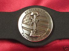 "Handcrafted Vest Extender ""Fallen Soldier"" Antique Silver Color Bold Leather"