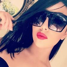 """Lauren"" Flat Top Oversized HUGE Large Square Aviator Women Sunglasses BLACK"