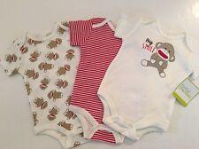 Baby Starters Boys Sock Monkey 3 Bodysuits Set Size 3 9 Months Layette Gift
