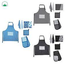 5 Pce Cotton Kitchen Apron + 2 Tea Towels + Pot Holder + Double Oven Mitten Set
