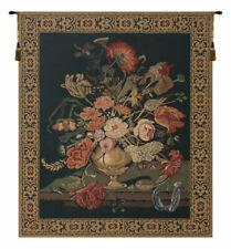 Mignon Bouquet, Black Belgian Woven Floral Tapestry Wall Art Home Decor Art
