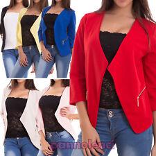 Giacca donna coprispalle bolero giacchetto blazer zip maniche 3/4 nuova CJ-2101