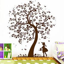 10397 Wandtattoo Loft Baum mit Mädchen Eule Elfe Fee Prinzessin Blume Bäumchen