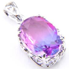 Amazing Mystical Purple Tourmaline Gemstone Oval Shaped Silver Pendant Necklace