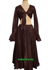 Coffee Satin Belly Dance Skirt + Top Set Tie Ruffle Dress Tribal Full Circle