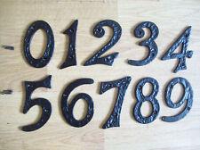 BLACK ANTIQUE IRON HOUSE DOOR NUMBERS NUMERALS HEAVY
