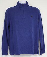Polo Ralph Lauren Jersey Azul Tejido de Algodón Detalle Cremallera Marrón  Pony 0f10935118d