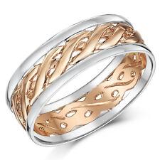 9ct Rosa Oro & argento celtico Anello di matrimonio (COMPLETAMENTE MARCATO) 6mm