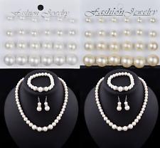 Pearl Earrings, Bracelet, Necklace Set Cream White Girls Ladies Party