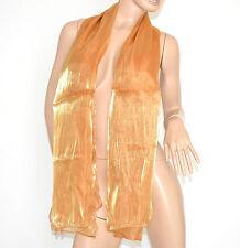 SCIARPA ORO donna pashmina foulard metallizzato sciarpetta tinta unita scarf 15