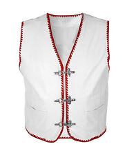 LEDERWESTE Weiß Kutte mit Rot BIKER gilet en cuir Vest CHOPPER  WEIßES LEDER