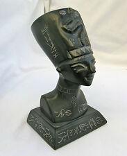 "Egyptian Basalt Stone Black Queen Nefertiti Large Statue 7.25""  Hieroglyphic"