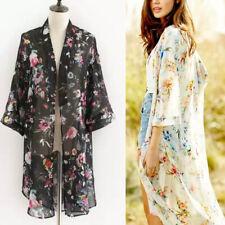 Chic Flowy Floral Kimono Cardigan Duster Long Wrap Shawl Boho Gypsy Loose S-XL