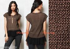 NEW Anthropologie Savine Top By Eva Franco, Brown Sz M made in USA Cotton, silk