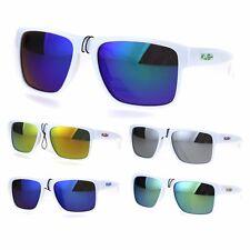 Mens White Kush Color Mirror Rectangular Sport Gangster Sunglasses